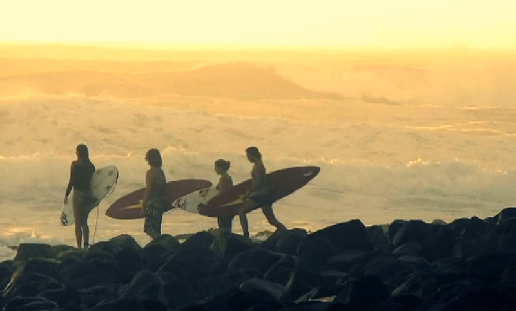 NEW SCHOOL ON OLD BOARDS (Mick Fanning, Sally Fitzgibbons, Julian Wilson)