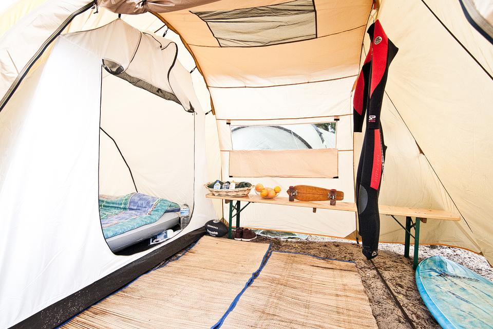 Gehobene Zelt Unterkunft im Surfcamp Carcans Jetzt buchen